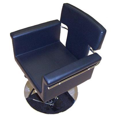 Black Hydraulic Styling Chair with metal chrome finish.